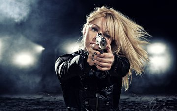 night, lights, girl, weapons, blonde, gun, jacket, blur