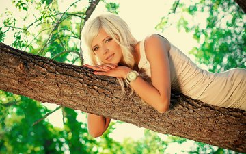 nature, tree, leaves, girl, dress, blonde, look, lies, watch, model