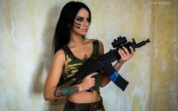 girl, weapons, model, tattoo, machine, photoshoot