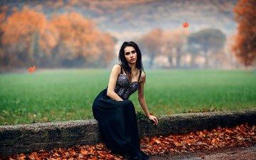листья, девушка, платье, осень, модель, макияж, боке, сидя, алессандро ди чикко