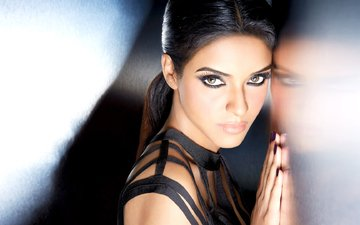 eyes, girl, brunette, look, model, hair, lips, face, actress, celebrity, bollywood, indian, asin