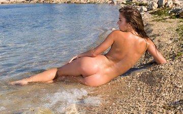 вода, девушка, песок, лежит, голая