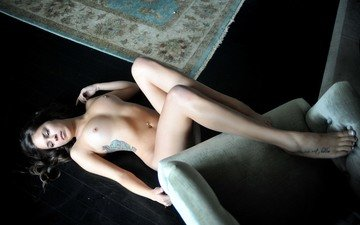 girl, lies, naked, on the floor