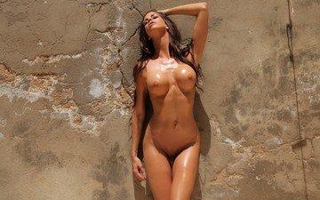 девушка, стена, голая