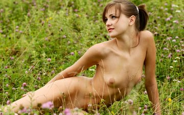 flowers, girl, meadow, sitting, naked