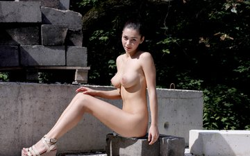 nature, girl, look, sitting, feet, naked, chloe d