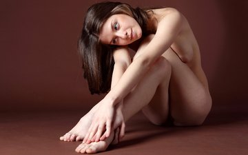 girl, look, sitting, hair, face, naked, on the floor