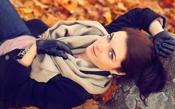 leaves, girl, look, autumn, hair, face, gloves, blue-eyed