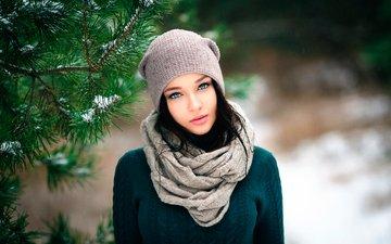 зима, девушка, взгляд, волосы, лицо, шапка, шарф, голубоглазая, ангелина петрова, денис петров