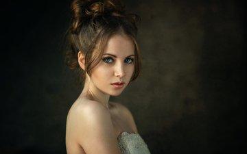 девушка, портрет, взгляд, волосы, лицо, студия, голубоглазая, настя, деннис дрожжин