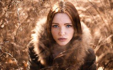 девушка, портрет, кусты, рыжая, модель, мех, веснушки, голубоглазая