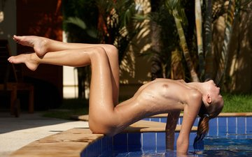 trees, water, nature, girl, summer, girls, model, pool, hands, nude, amelie