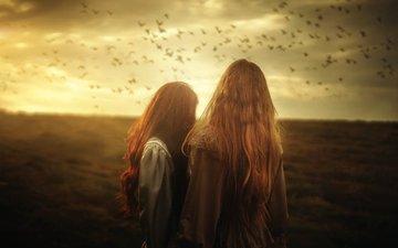 поле, девушки, птицы, волосы, стая, солнечный свет