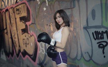 девушка, спорт, азиатка, боксерские перчатки