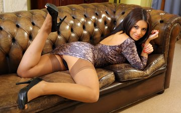 girl, dress, stockings, heels, sofa, charlotte springer