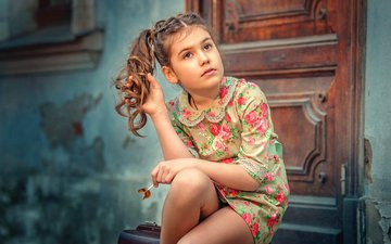 dress, look, the door, girl, sitting, hair, face, dmitry dodeliti