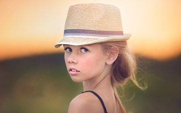 portrait, look, girl, hair, face, hat, julia altork