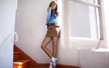 лестница, поза, модель, актриса, певица, фотосессия, стефани скотт, flaunt, mike rosenthal