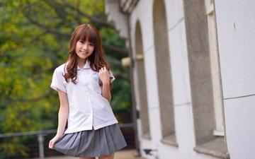 девушка, улыбка, юбка, азиатка, рубашка, aries