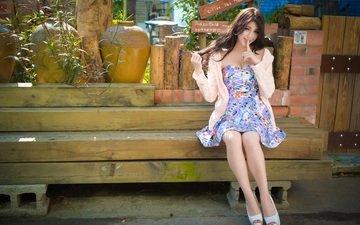 девушка, настроение, лето, доски, сидит, азиатка, брусья