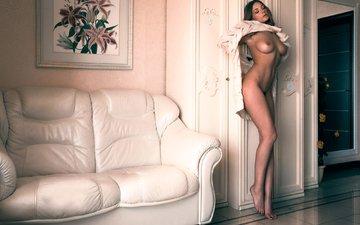девушка, модель, грудь, кофточка