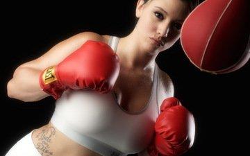 девушка, поза, фигура, бокс, перчатки, груша, спортивная одежда, стойка, тренировки