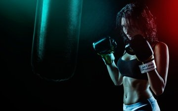 girl, room, sport, boxing, gloves, pear, sports wear, bodybuilding, workout, kickboxing, khusen rustamov