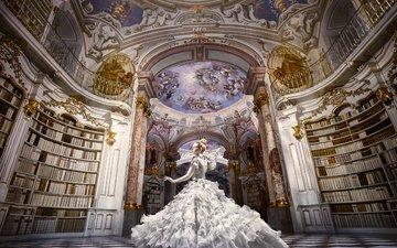 девушка, настроение, платье, книги, зал, танец, библиотека