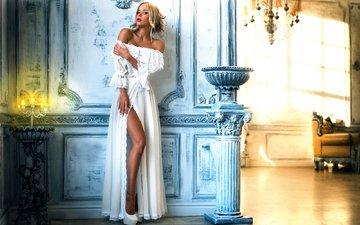 girl, blonde, hall, model, legs, makeup, white dress, photoshoot, anna