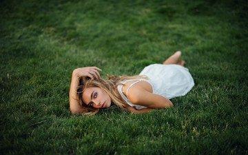 grass, girl, blonde, look, lies, white dress