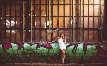 girl, blonde, the building, graffiti, white dress, high heels, florian seelmann