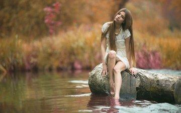 вода, девушка, фон, взгляд, модель, лицо, макияж, бревно, белое платье, длинные волосы