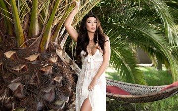 девушка, брюнетка, модель, пальма, гамак, тропики, белое платье, стоит, плейбой, anita serena