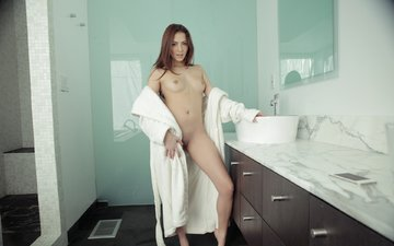 girl, mirror, bathroom, long hair, bathrobe, cassis online