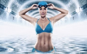 girl, smile, glasses, swimsuit, cap, swimmer, werner burgstaller
