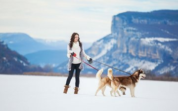 mountains, snow, winter, girl, husky, dogs, siberian husky