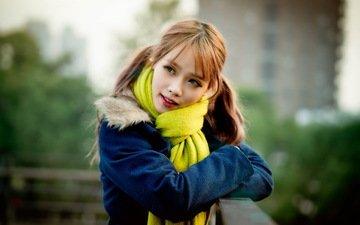 глаза, девушка, портрет, рыжая, модель, азиатка, фотосессия, шарф
