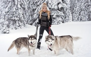 snow, forest, winter, girl, pose, blonde, husky, breed, dogs, leash