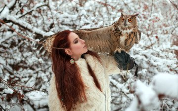 winter, girl, branches, wings, bird, glove, owl, redhead, long-eared owl
