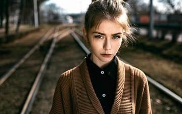 rails, girl, portrait, the city, autumn, model, face, photoshoot