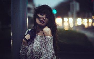 ночь, девушка, портрет, модель, кофта, перчатки, длинные волосы, голые плечи, дэвид olkarny