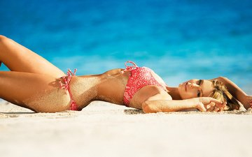 sea, blonde, sand, beach, model, swimsuit, jennifer hawkins