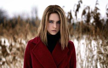 winter, girl, portrait, look, model, hair, photoshoot, coat