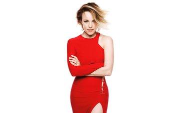 глаза, блондинка, актриса, руки, красное платье, фотосессия, рэйчел макадамс, розовая помада