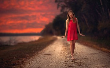 road, sunset, girl, background, blonde, model, red dress