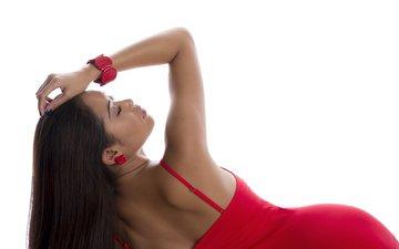 девушка, профиль, волосы, лицо, белый фон, красное платье, закрытые глаза