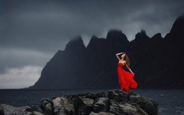 скалы, камни, берег, девушка, море, залив, модель, волосы, красное платье