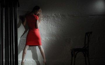 blonde, wall, model, legs, darkness, red dress, photoshoot