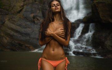 озеро, девушка, водопад, трусики, модель, тату, грудь, бикини, mavrin, viki odintcova, aleksandr mavrin