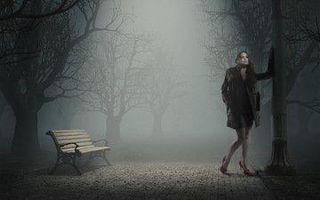 ночь, девушка, парк, туман, скамья